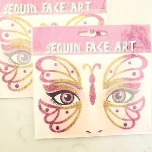 ••5-for-$25•• 🦋 2-pk Sequin Glitter Face Art